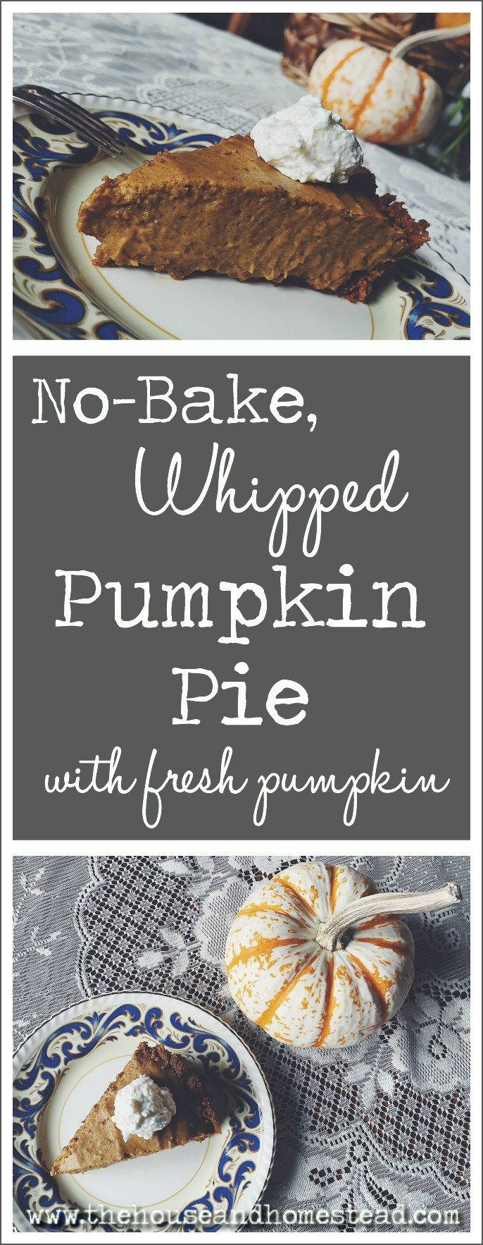This homemade no-bake, whipped pumpkin pie is made completely from scratch and uses real, fresh pumpkin instead of canned pumpkin pie filling. It's made with a ginger cookie crust and the pumpkin pie filling is mixed with whipped cream to make it light and fluffy. It puts all other pumpkin pies to shame!