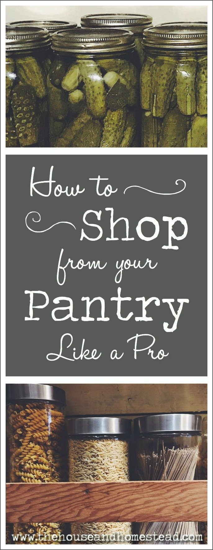 Whether you're looking to get organized, save money or simply get creative with your meal planning, the first place you should turn to is your own home pantry. Here I share the tried and true planning and organization strategies I use to shop from my own pantry and craft meals out of what I already have on hand. With links to FREE fridge, freezer and pantry inventory templates, meal planning printable and downloadable smart shopping list. #pantryinventory #pantryorganization #mealplanning