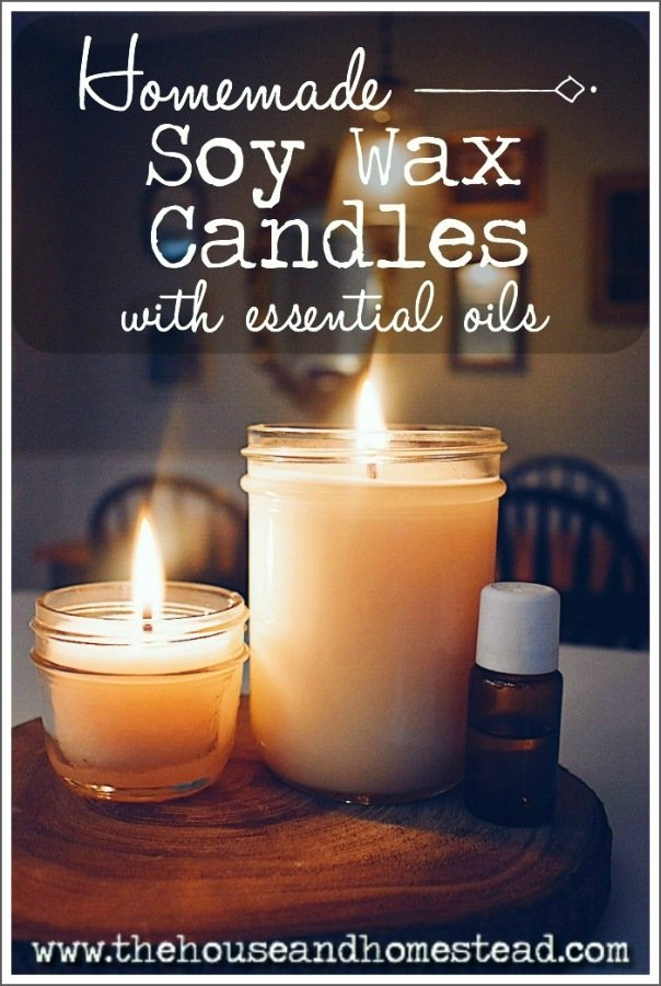 These homemade soy candles with essential oils are a safe, healthy and all-natural alternative to store-bought candles. And they make a great homemade gift! #homemadesoycandles #soywaxcandles #soywax #homemadecandleswithessentialoils #diycandles