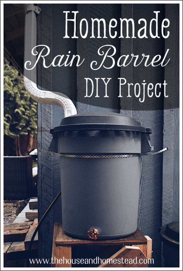 Learn how to make your own homemade rain barrel out of a garbage can and a few simple materials. Become more self-sufficient with this off-grid water storage rain barrel and always have an emergency water supply on hand just in case. #rainbarrel #diyrainbarrel #offgridwater