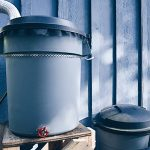 Homemade rain barrel.