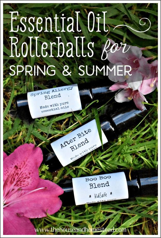 Make your own DIY essential oil rollerballs for spring and summer to help soothe and heal all sorts of ouchies and ailments, including bug bites, sunburns, headaches, summer colds and more. #rollerballs #rollerbottles #essentialoilsforsummer