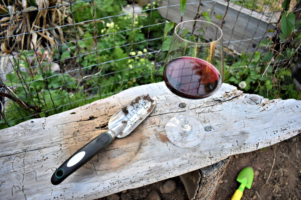 Glass of wine on the garden bench