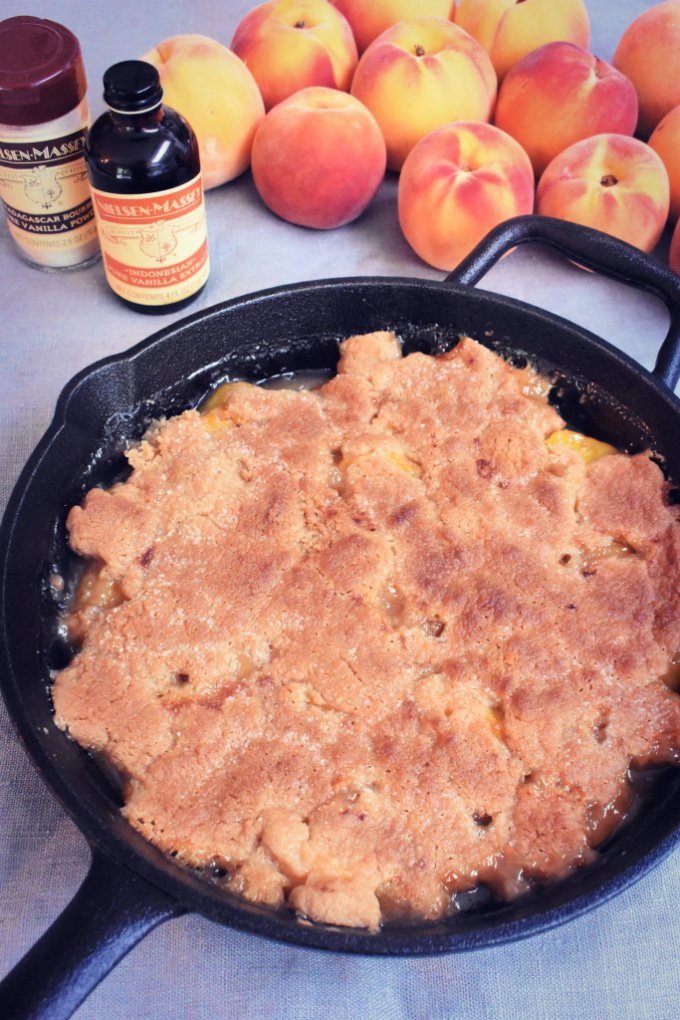 This vanilla and brown butter peach cobbler recipe is the perfect way to use fresh peaches when they're in season at the height of summer. Or use home canned peaches and enjoy this peach cobbler all year long! #peachcobbler #brownbutter #peachcobblerrecipe