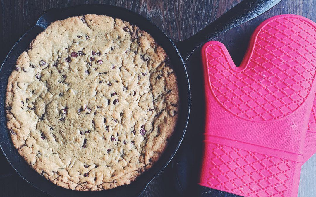 Ooey gooey chocolate chip skillet cookie