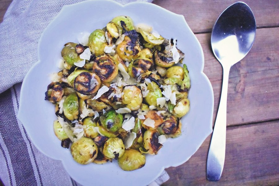 Charred Brussels Sprouts with Lemon & Parmesan