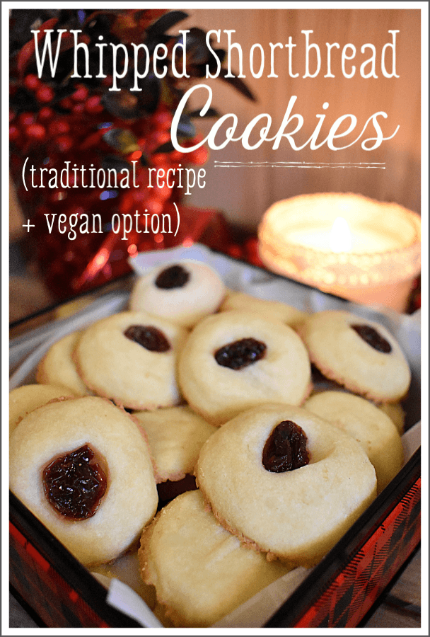 These homemade whipped shortbread cookies are a great way to add a twist to a classic holiday treat, and use only three simple, natural ingredients! #whippedshortbread #shortbreadcookies #christmascookies #veganshortbreadcookies #buttershortbreadcookies #traditionalshortbreadcookies #classicshortbreadcookies
