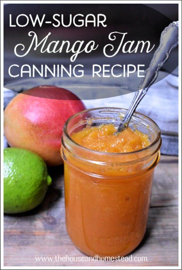Traditional jams contain heavy amounts of sugar, but this low-sugar mango jam is a healthier alternative that tastes just like a tropical vacation! #mangojamrecipe #lowsugarmangojam #mangolimejam #lowsugarjamrecipes