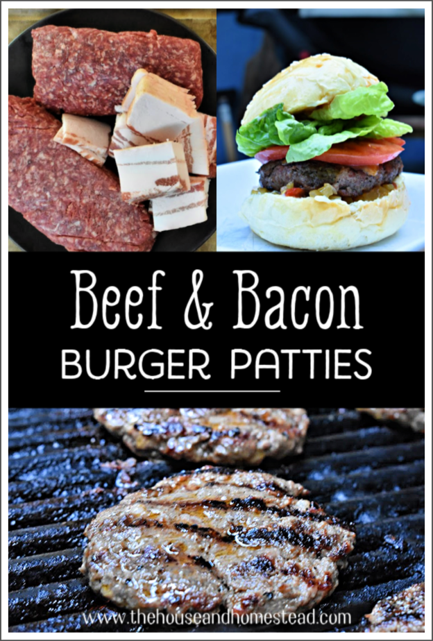 These homemade beef and bacon burger patties are packed with flavour and perfect for a summer barbecue. Plus they're wheat, gluten and egg free! (Just not when you add the bun;) #beefpatties #beefandbaconpatties #beefandbaconburgers #homemadeburgerpatties #homemadehamburgerpatties