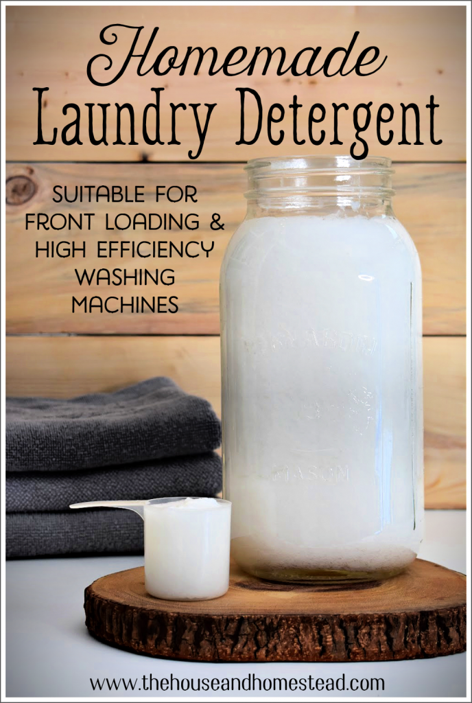 This homemade laundry detergent recipe uses just a handful of natural ingredients and is suitable for front loading and HE washing machines. Learn how to make your own liquid laundry detergent at home for a fraction of the price of store-bought detergents! #homemadelaundrydetergent #liquidlaundrydetergent #laundrydetergentforhewashingmachines
